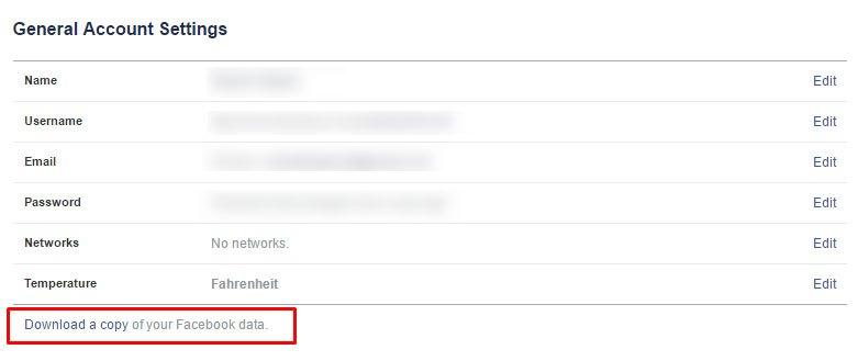 Facebookデータのコピーをダウンロードする