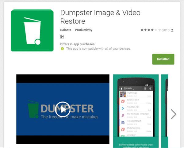 Dumpster Image & Video Restore.