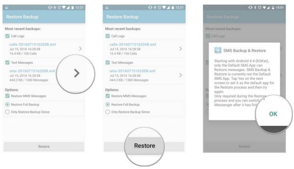Восстановить SMS-сообщение на Android