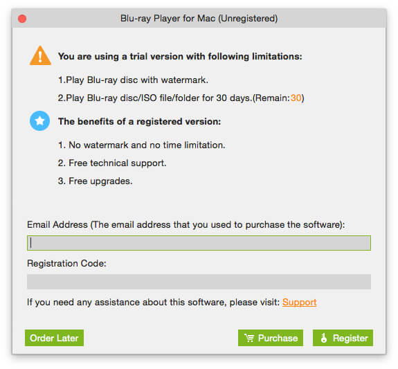 Register Blu-ray Player for Mac