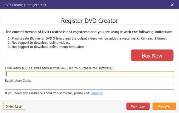 Registrieren Sie den DVD Creator