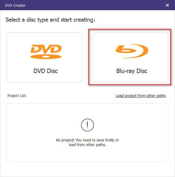 Wählen Sie Blu-ray Disc