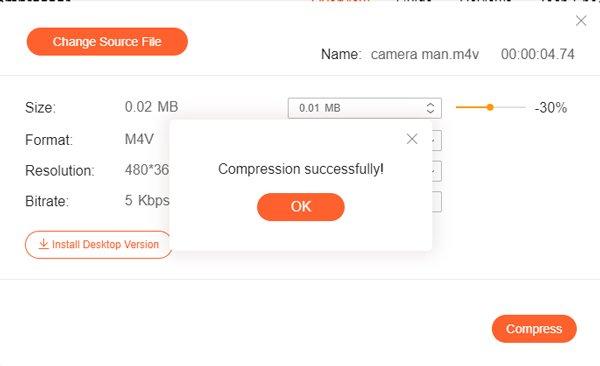 M4V compressé enregistré