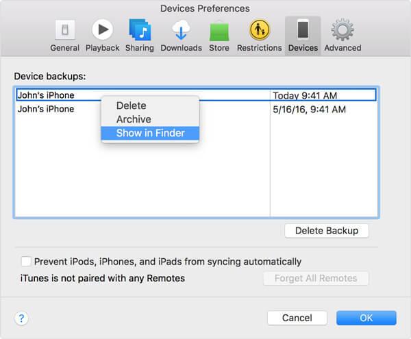 Emplacement des sauvegardes iPhone sur iTunes