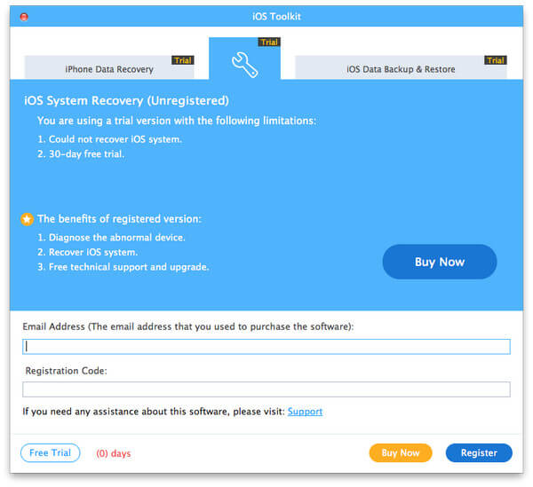 Register iOS System Recovery for Mac