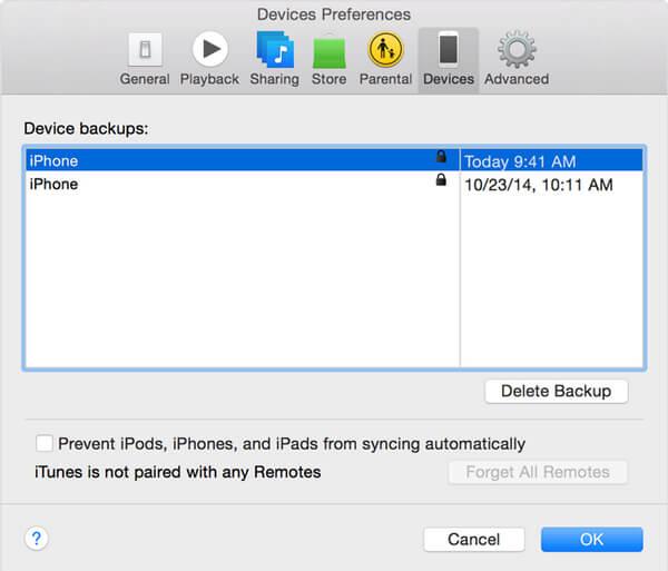 Überprüfen Sie die verschlüsselte iTunes-Sicherung
