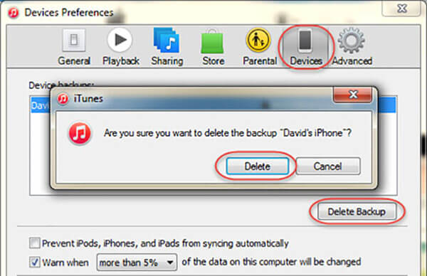 Delete an iTunes Backup in iPhone