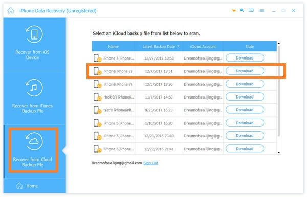 Choose Data to Restore from iCloud Backup