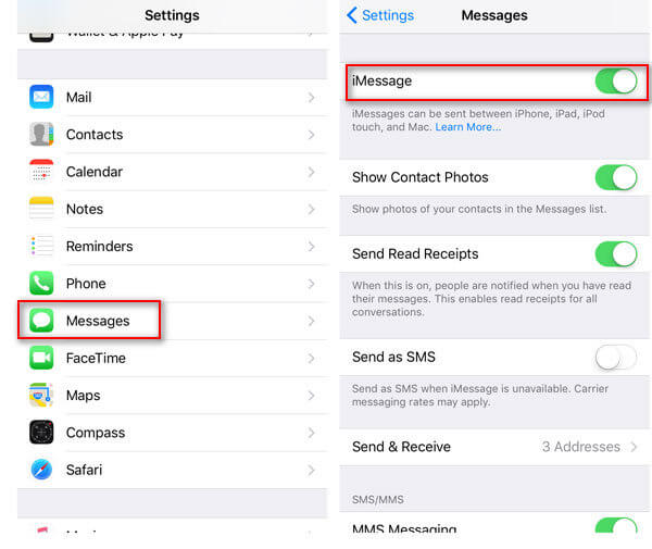 Enable iMessages on iPhone