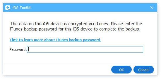 Geben Sie das iTunes-Sicherungskennwort ein