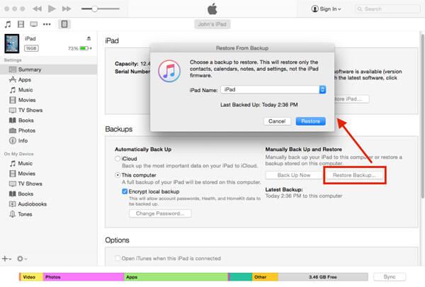 Restaurer l'iPad avec iTunes