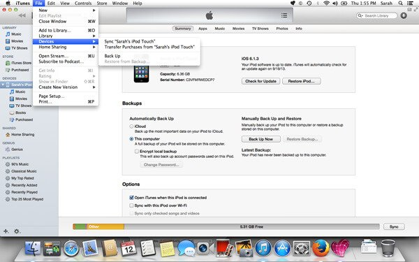 what does iTunes backup transferring
