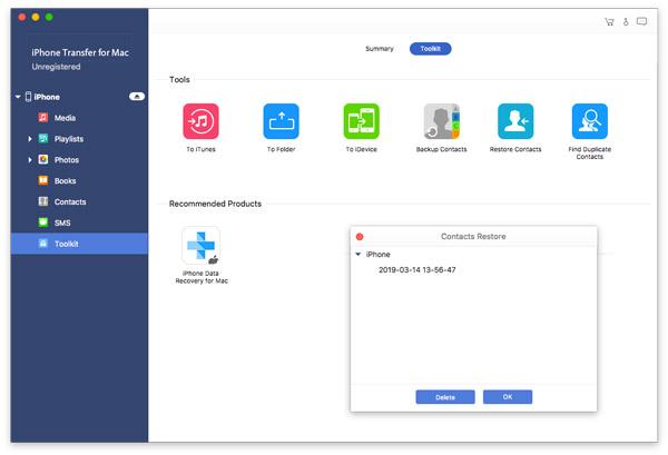 Mac Ein Klick, um die Kontakte wiederherzustellen