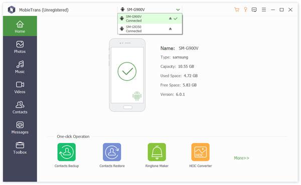 Connectez deux téléphones Samsung via Mobietrans
