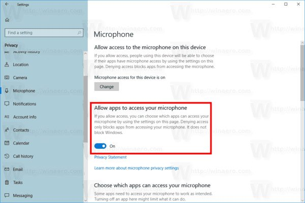 Enable Microphone Acccess Windows 10