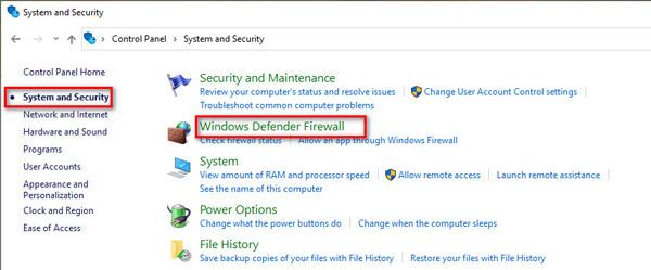 Выберите брандмауэр Защитника Windows.
