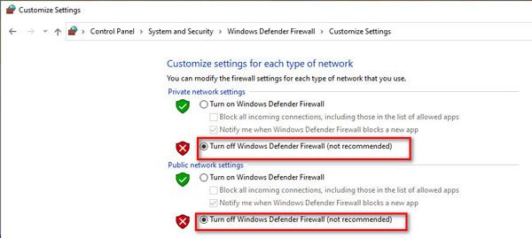 Отключите брандмауэр Защитника Windows