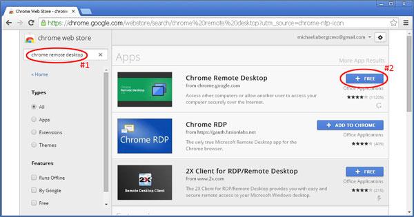 Fügen Sie Chrome Remote hinzu