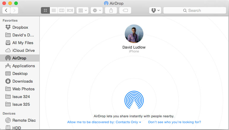 AirDrop from iPhone