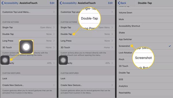 Capture d'écran AssistiveTouch iPhone