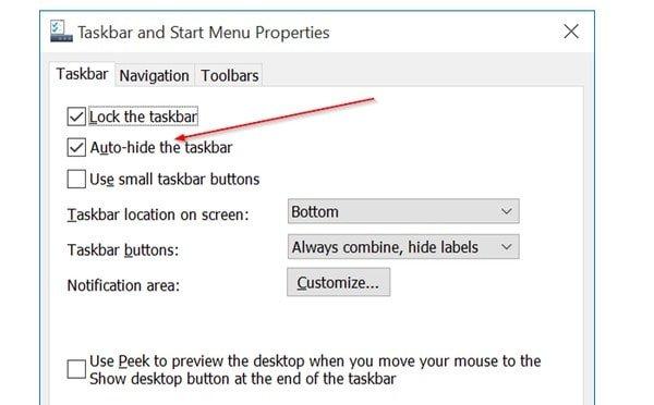 Windows piilottaa tehtäväpalkin