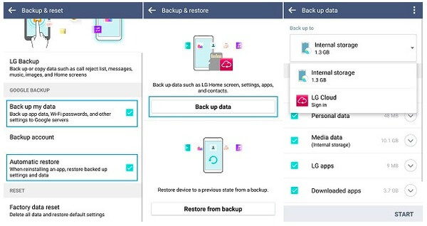 Backup LG data to LG Cloud