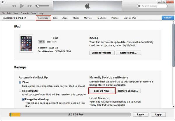 Резервное копирование iPad через iTunes