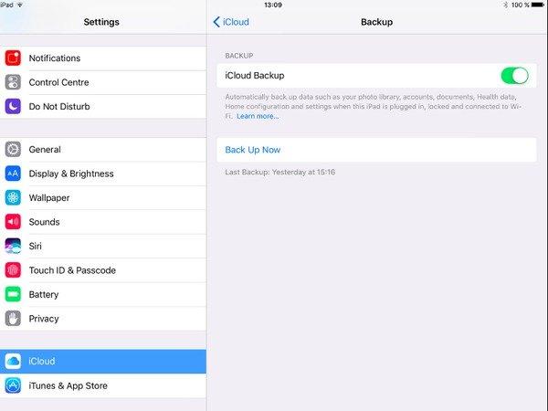 Backup iPad zu iCloud