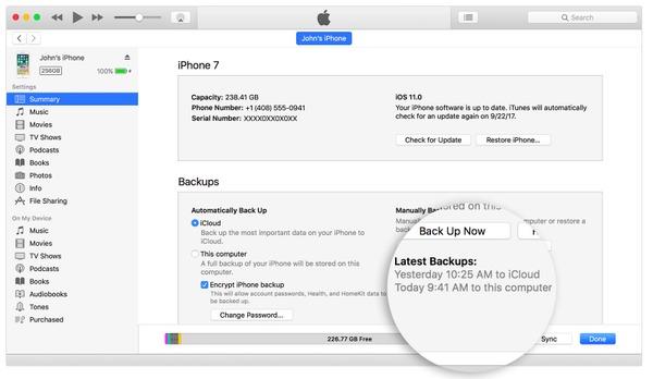IPhone auf dem Computer mit iTunes sichern