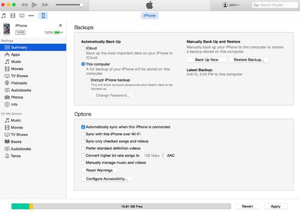Backup iPhone zu iTunes