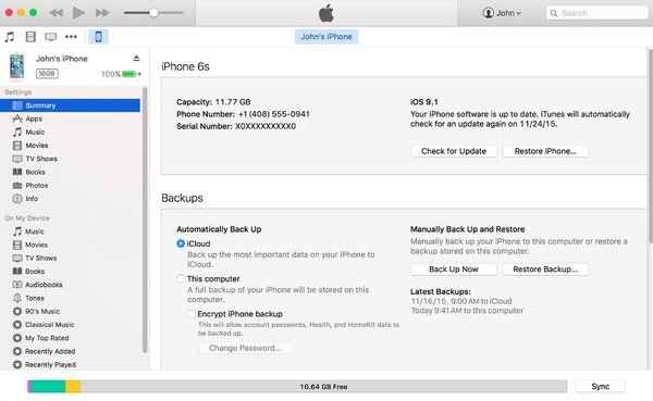 Backup iPhone to  Mac