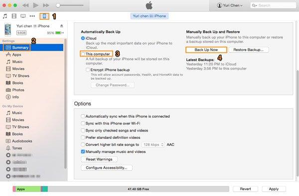 Sauvegarde iTunes