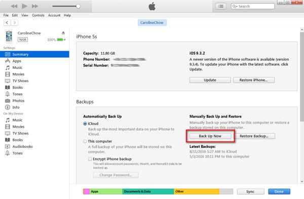Sauvegarde avec iTunes
