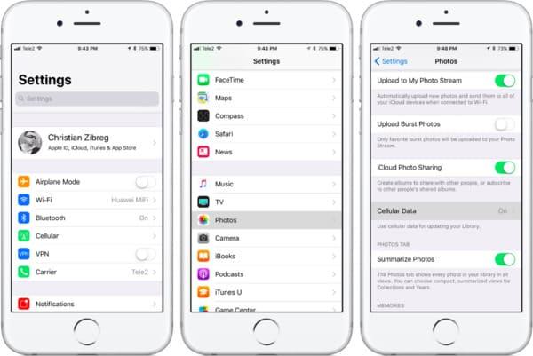Sauvegarde de photos de l'iPhone vers iCloud