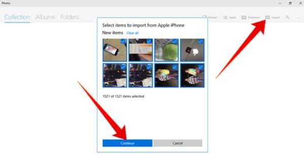 Sauvegarde de photos d'iPhone sur pc avec l'application Photos
