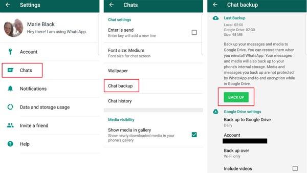 WhatsApp manuell sichern