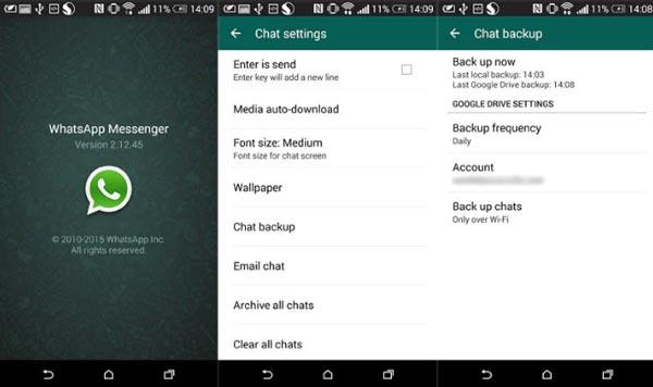Sichern Sie WhatsApp auf Google Drive