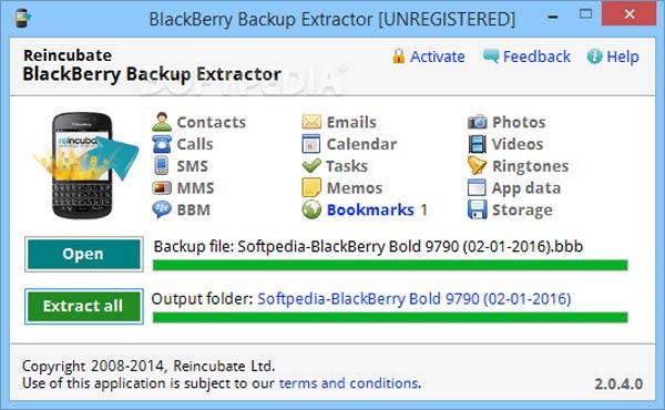Extracteur de sauvegarde BlackBerry
