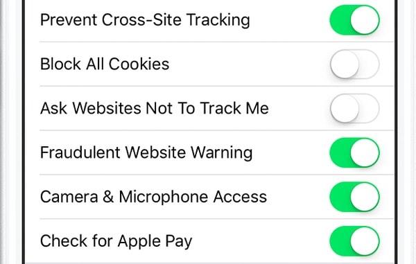 すべてのクッキーをブロックするiPhone iPad