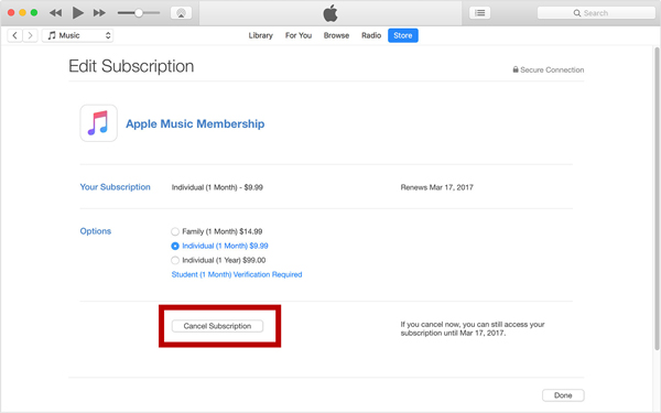 Cancel Subscription on iTunes