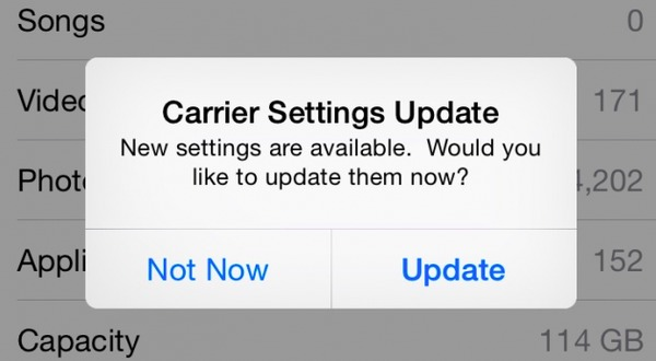 Check Carrier Settings Update