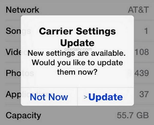 Check Cellular Carrier Update