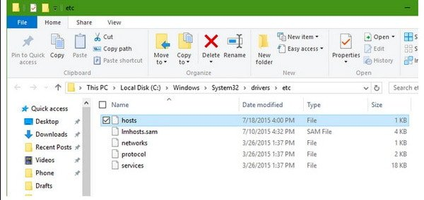 Check Host File on Windows