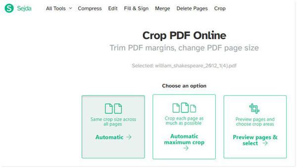 Choisissez l'option de recadrage PDF