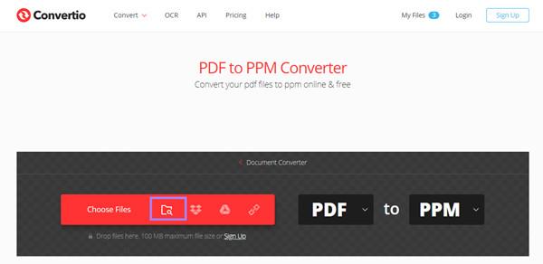 Choisissez Convertio de fichiers PDF