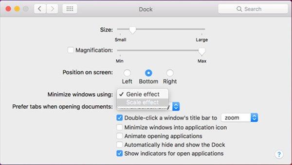 Schließen Sie die Mac Dock-Effekte