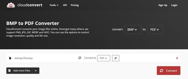 Cloudconvert BMP から PDF