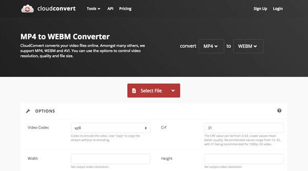 CloudConvert MP4 zu WebM