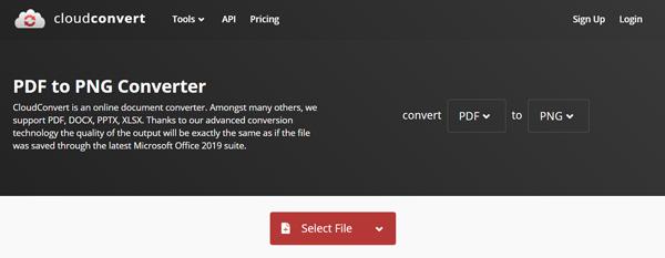 Convertisseur CloudConvert PDF en PNG