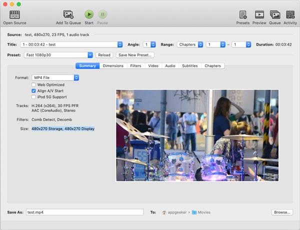 Konvertieren Sie DVD in MP4 HandBrake